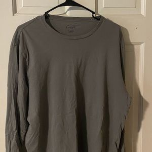 Grey J Crew Men's Long Sleeve Fitted T Shirt